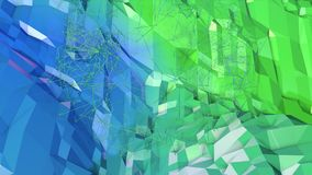 Low poly abstract background with modern gradient colors. Blue green 3d surface with grid in air 12. Low poly abstract background with modern gradient colors royalty free illustration