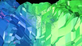 Low poly abstract background with modern gradient colors. Blue green 3d surface with grid in air 13. Low poly abstract background with modern gradient colors stock illustration