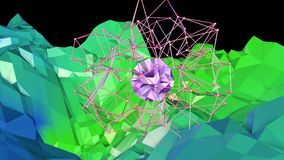 Low poly abstract background with modern gradient colors. Blue green 3d surface with grid and 3d objects in air. V2. Low poly abstract background with modern Royalty Free Stock Photography