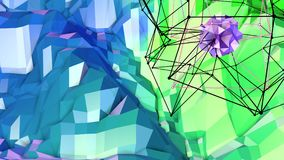 Low poly abstract background with modern gradient colors. Blue green 3d surface with grid and 3d objects in air. V3. Low poly abstract background with modern Royalty Free Stock Images