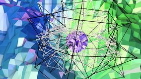 Low poly abstract background with modern gradient colors. Blue green 3d surface with grid and 3d objects in air. V5. Low poly abstract background with modern Stock Photos