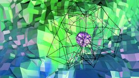 Low poly abstract background with modern gradient colors. Blue green 3d surface with grid and 3d objects in air. V8. Low poly abstract background with modern Stock Image
