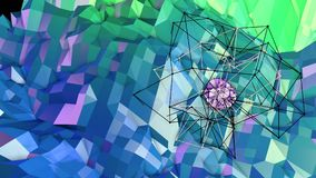Low poly abstract background with modern gradient colors. Blue green 3d surface with grid and 3d objects in air. V11. Low poly abstract background with modern Stock Photography