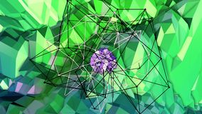 Low poly abstract background with modern gradient colors. Blue green 3d surface with grid and 3d objects in air. V9. Low poly abstract background with modern Stock Photography