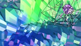 Low poly abstract background with modern gradient colors. Blue green 3d surface with grid and 3d objects in air. V7. Low poly abstract background with modern Stock Photo