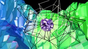 Low poly abstract background with modern gradient colors. Blue green 3d surface with grid and 3d objects in air. V6. Low poly abstract background with modern Royalty Free Stock Photo