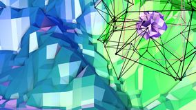 Low poly abstract background with modern gradient colors. Blue green 3d surface with grid and 3d objects in air. V4. Low poly abstract background with modern Royalty Free Stock Photography