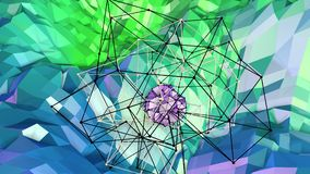Low poly abstract background with modern gradient colors. Blue green 3d surface with grid and 3d objects in air. V10. Low poly abstract background with modern Royalty Free Stock Photo