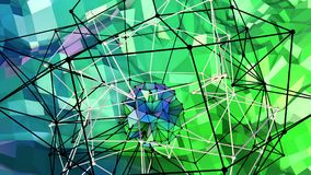 Low poly abstract background with modern gradient colors. Blue green 3d surface with grid and 3d objects in air. V12. Low poly abstract background with modern Stock Image