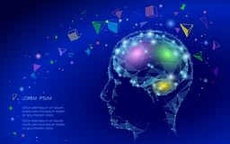 Low poly abstract brain virtual reality concept. Geometric polygonal shapes triangle linear mind imagination dream. Low poly abstract brain virtual reality stock illustration