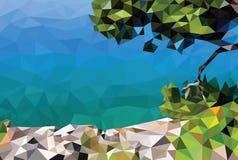 Low poly adriatic sea coast. Summer adriatic seaside in polygonal style, vector Royalty Free Stock Image