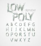Low poly alphabet font. Vector illustration Royalty Free Stock Photo
