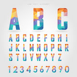 Low poly alphabet and number on polygon concept Stock Photos