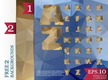 Low poly alphabet on polygon concept vector and backgrounds tria. Ngles polygonal style eps.10 Vector Illustration