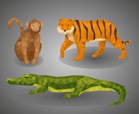 Low poly animal tropic compilation. Vector illustration set in polygonal style. Monkey, tiger and crocodile on gray background Stock Photo