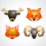 Low poly animals bull fox cat ram vector set Royalty Free Stock Image