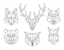 Low poly animals heads. Triangular thin line vector set Royalty Free Stock Image