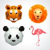 Low poly animals tiger lion panda flamingo vector set Royalty Free Stock Images