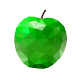 Low poly apple icon green. Low poly apple icon. Green bright closeup sign isolated on white background. Symbol nature, summer fresh and healthy food, health Royalty Free Stock Photography