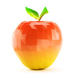 Low poly apple isolated on white background. 3d rendering Stock Photo
