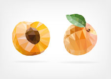 Low Poly Apricot fruit Royalty Free Stock Photos