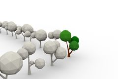 Low-poly avenue of trees. 3d illustration Royalty Free Stock Photo
