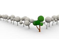 Low-poly avenue of trees Royalty Free Stock Image