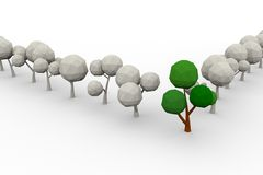 Low-poly avenue of trees Stock Photos