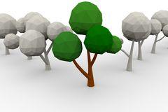Low-poly avenue of trees Stock Photography