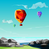 Low poly background, sea, stones with balloons fly to sky.
