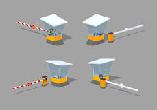 Low poly barrier and toll booth Royalty Free Stock Photography