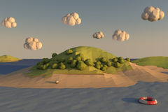 Low Poly Beach. 3D render of island made with low poly technique Royalty Free Stock Image