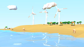 Low poly beach scene with camel and windmills Royalty Free Stock Photo