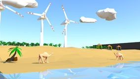 Low poly beach scene with camel and windmills Stock Photos