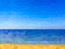 Low poly beach on the sea Stock Photography