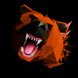 Low Poly Bear cries, Face view, Frontal Portrait shot Stock Photos