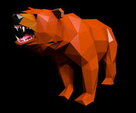 Low Poly Bear Face cries, side view Royalty Free Stock Image