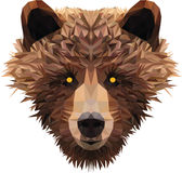 Low poly bear's head. Low poly vector illustration of a bear for a print on t-shirt Stock Photo