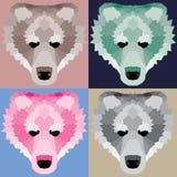 Low poly bears set. Nice geometric art Stock Photo