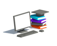 Low Poly black or gray computer monitor with books and motor board (square academic graduate cap) Stock Images