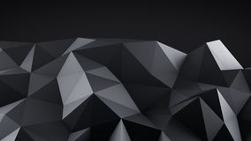 Low poly black shape abstract 3D render. Low poly black shape. Abstract 3D render Stock Photo
