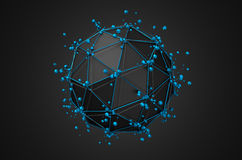 Low Poly Black Sphere with Chaotic Structure. Abstract 3d rendering of low poly black sphere with chaotic structure. Sci-fi background with wireframe and globe stock illustration