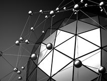 Low poly black sphere with chaotic structure. Futuristic backgro Royalty Free Stock Photos