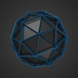 Low Poly Black Sphere with Wireframe Royalty Free Stock Image
