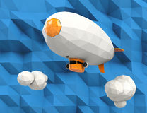 Low poly blimp on blue background Stock Photography