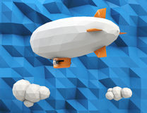 Low poly blimp on blue paper texture background. Low poly blimp on  blue paper texture background. Blank space of the blimp available for copy text Stock Photos