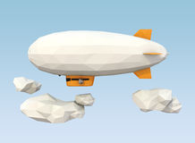 Low poly blimp flying in the sky. Blank space of the blimp available for copy text. clipping path included Royalty Free Stock Photography