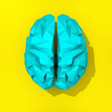 Low poly blue brain drawing. Blue low poly brain illustration on yellow background Stock Images