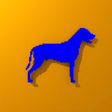Low poly blue dog illustration. Low poly colorful, pop art style dog illustration Royalty Free Stock Photo