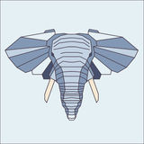 Low poly blue elephant. Geometric vector image Stock Image